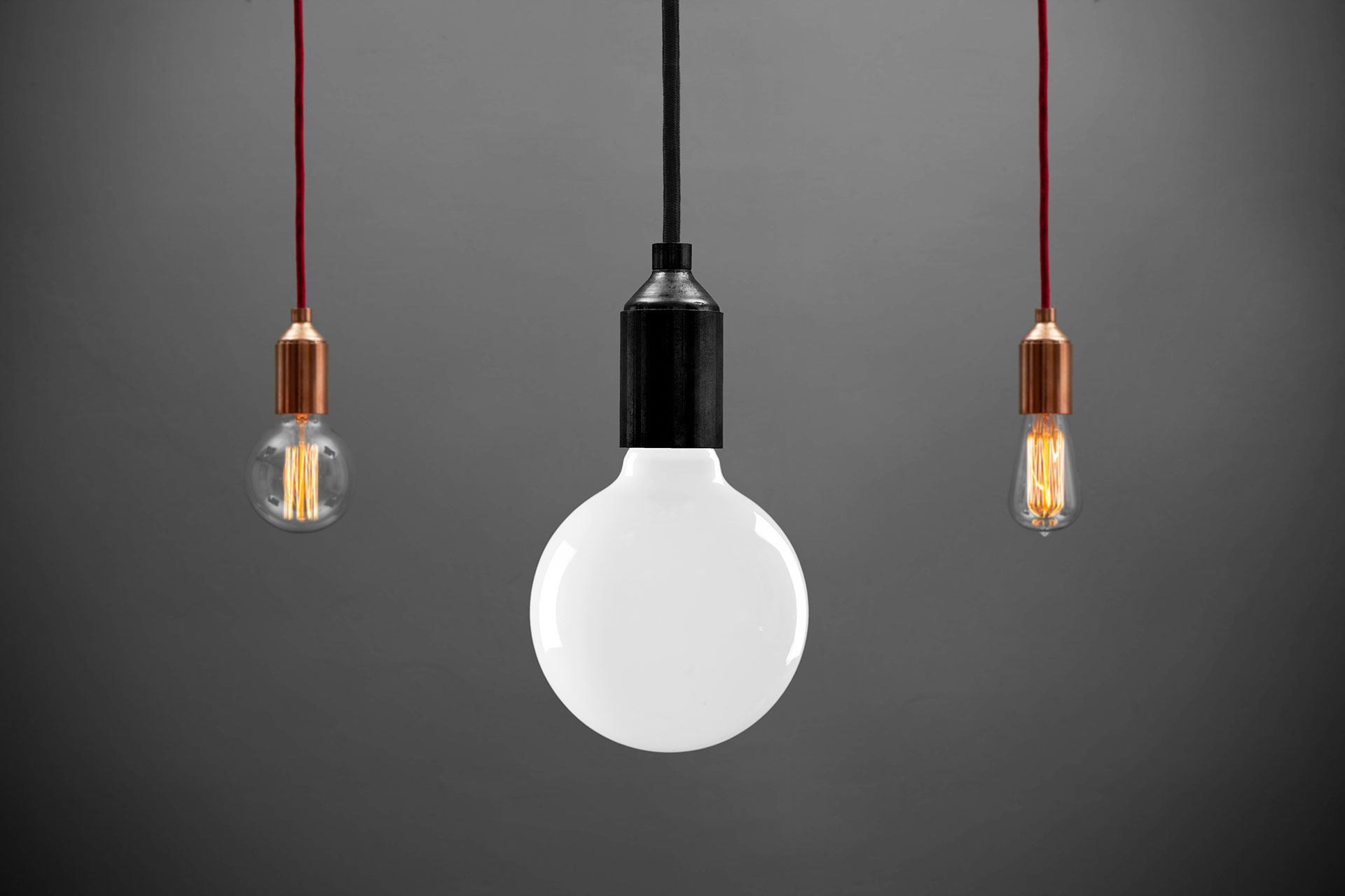 Simple metal pendant lamps in various colors and loft style