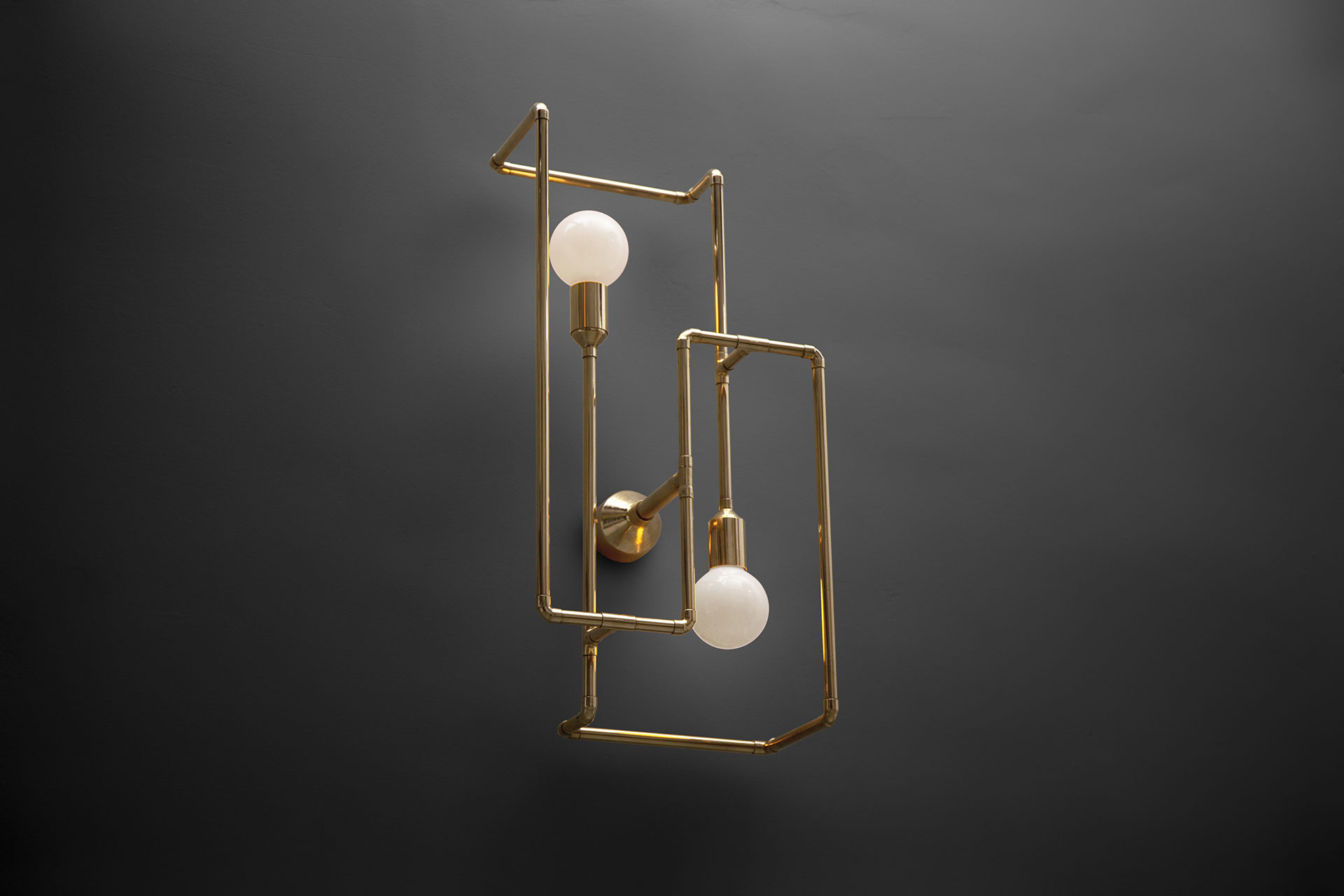 Conceptual art wall lamp sculpture in copper or brass