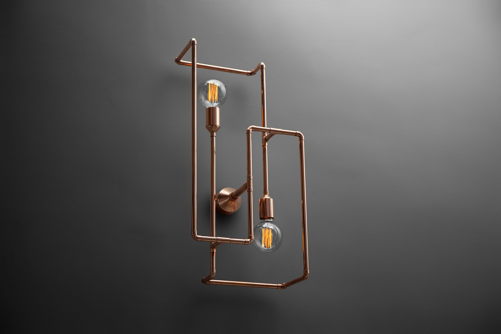 Large industrial design 2 lights sconce in copper or brass
