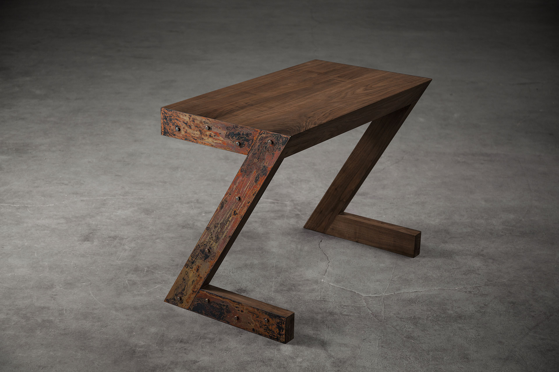Conceptual design console table in solid American walnut wood