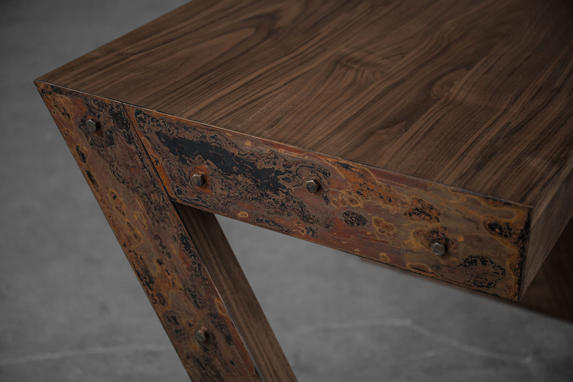 Aged copper metal and American walnut wood