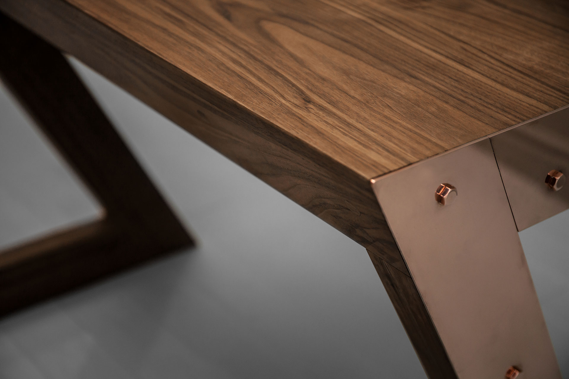 Copper metal and solid American walnut wood