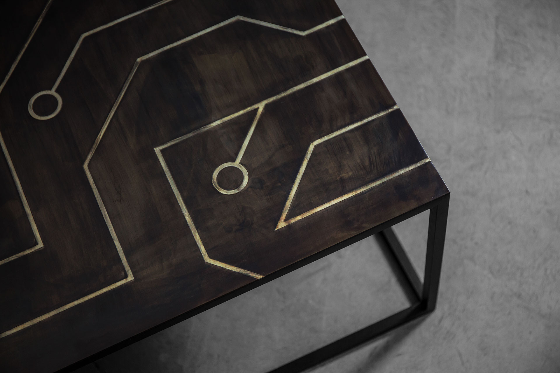 Table top stainless steel intarsia