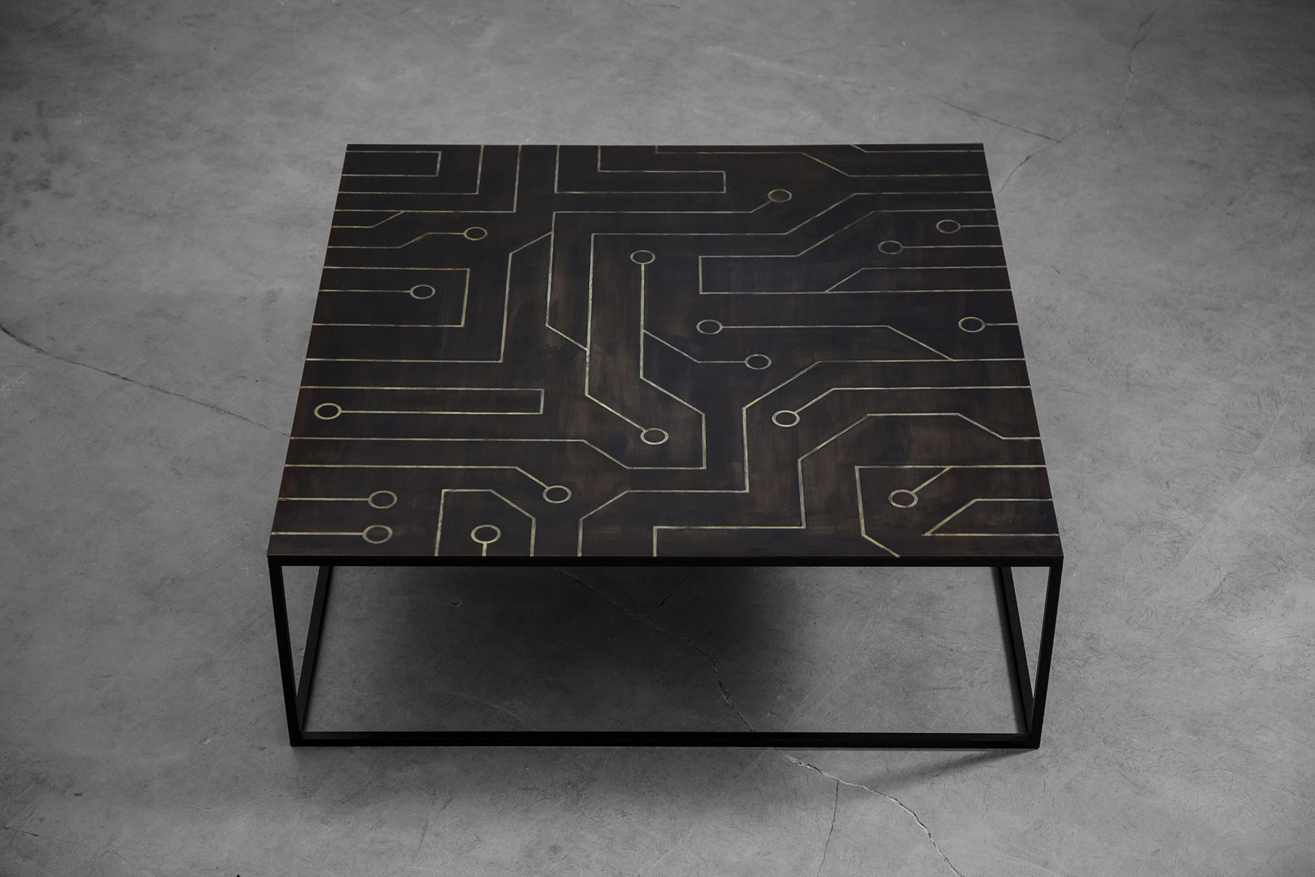 Black coffee table in modern men's apartment