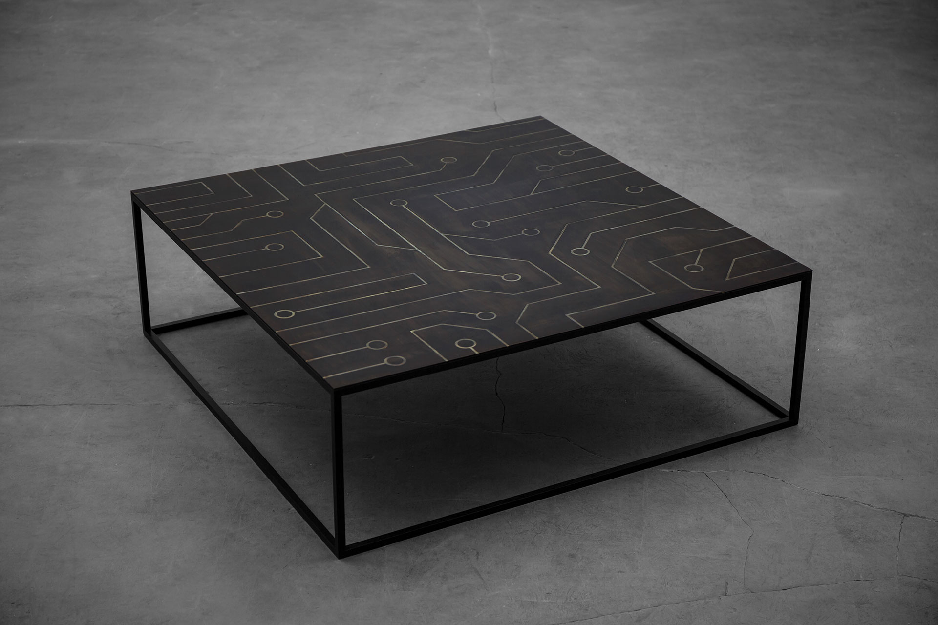 Futuristic design coffee table inspired by integrated circuit