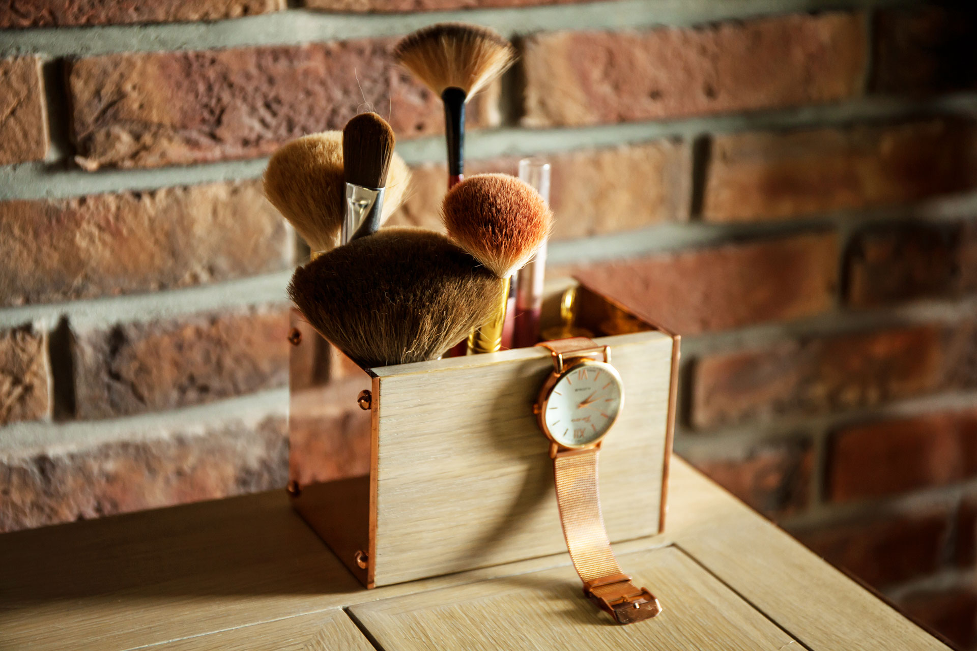 Copper and wood cosmetic organizer