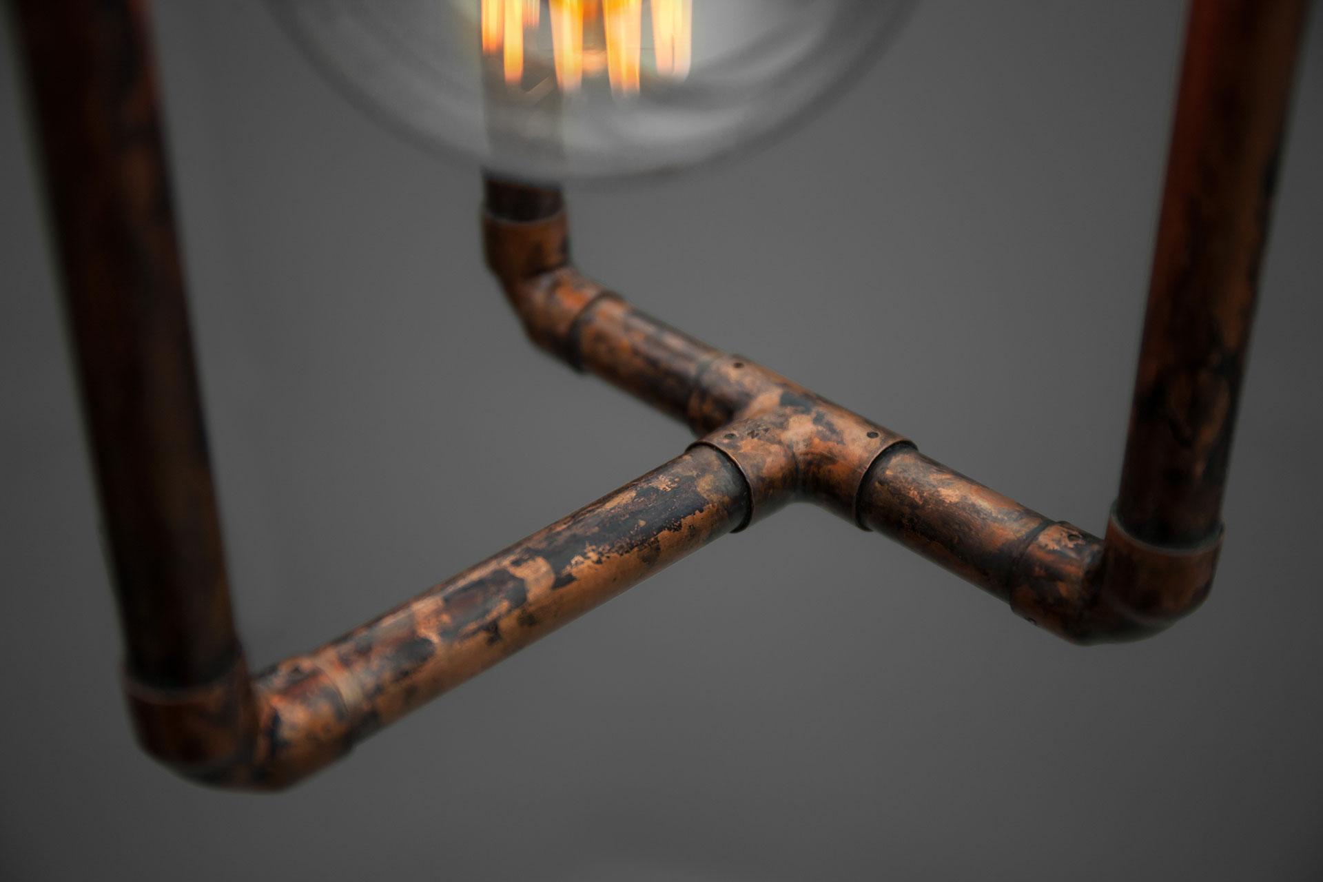 Aged copper metal finish