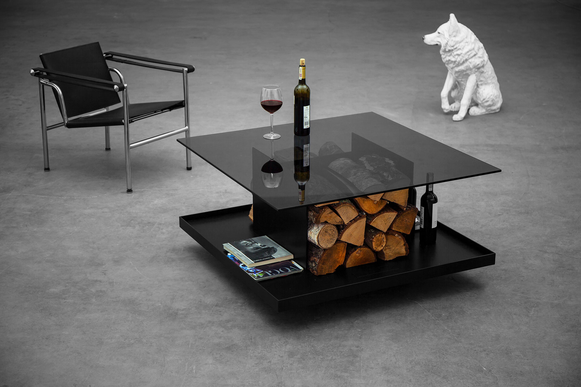 Outdoor indoor coffee table with firewood storage inspired by minimalism style
