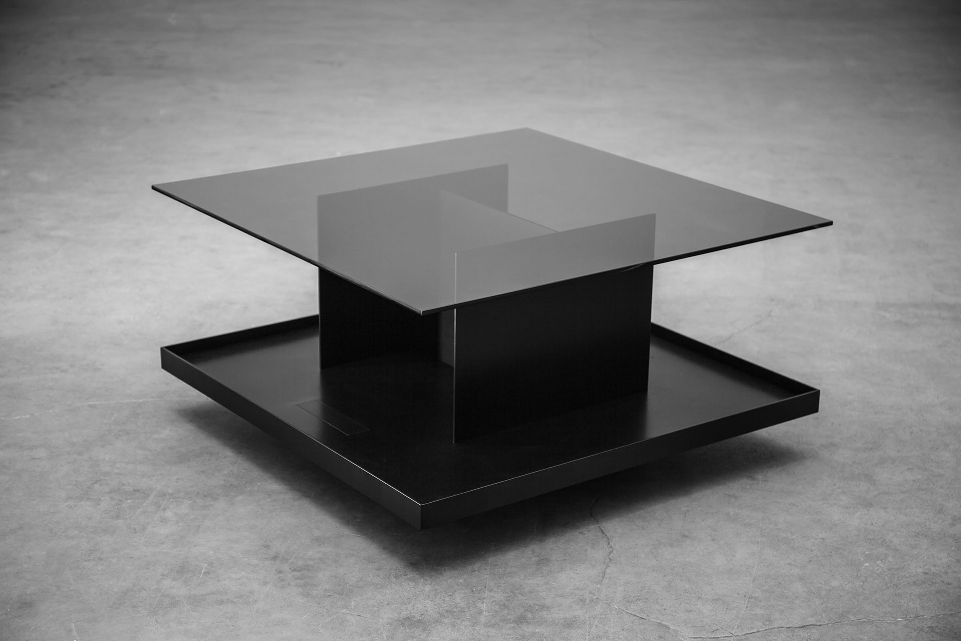 Black coffee table in brutalism style