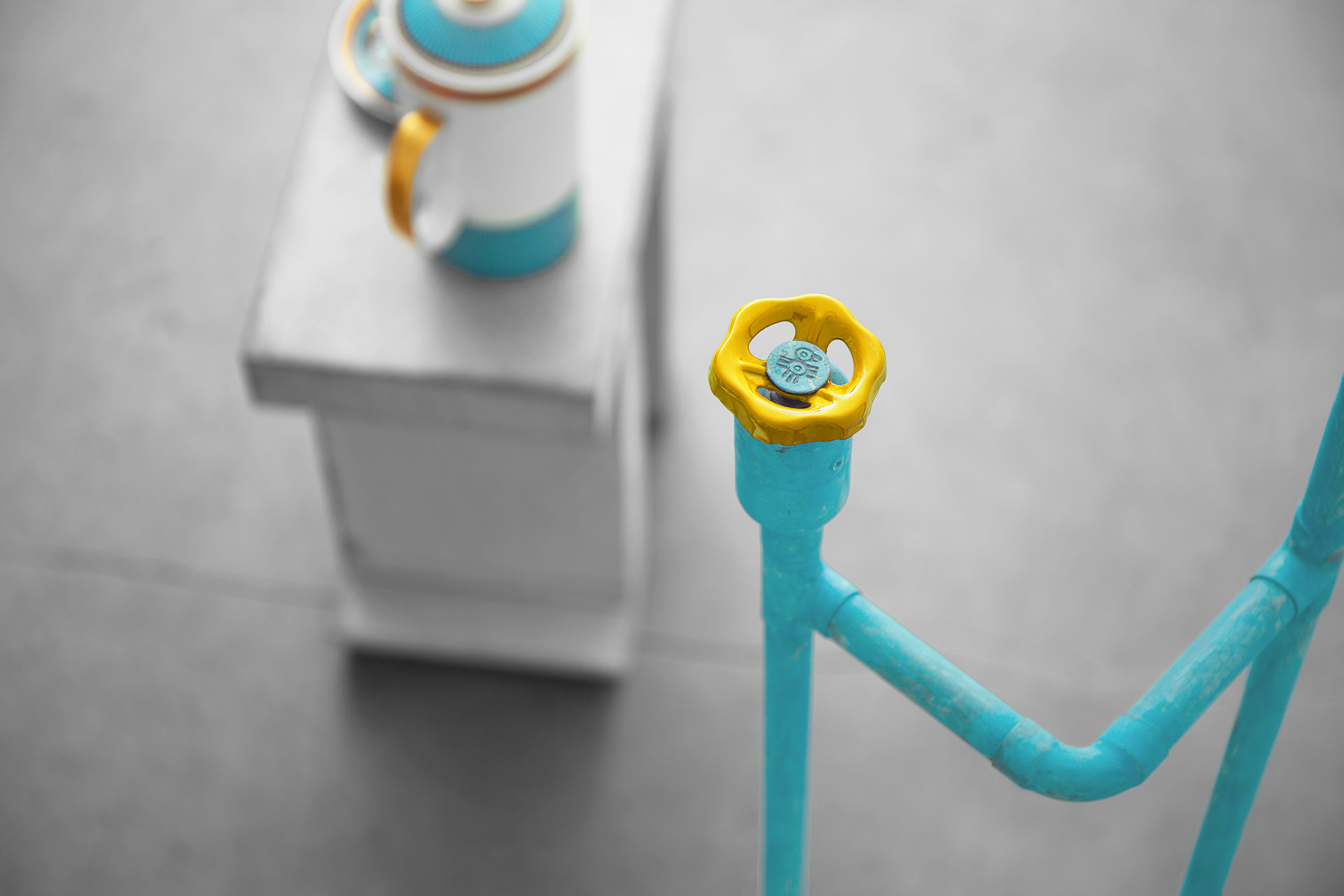 Cool yellow knob dimmer in trendy turquoise floor lamp inspired by industrial style design