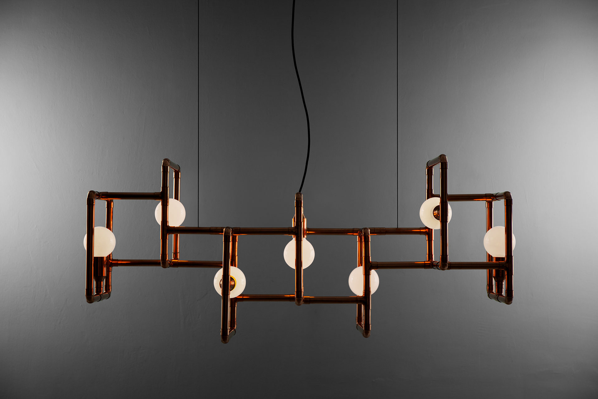Industrial design copper ceiling lamp in modern dining or conference room