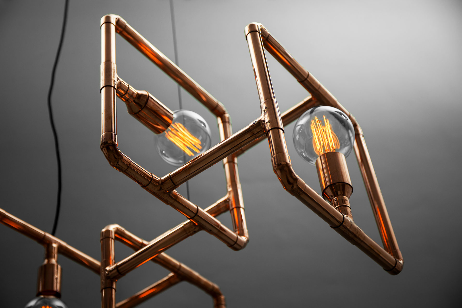Large decorative ceiling lamp in trendy copper with Vintage Edison bulbs