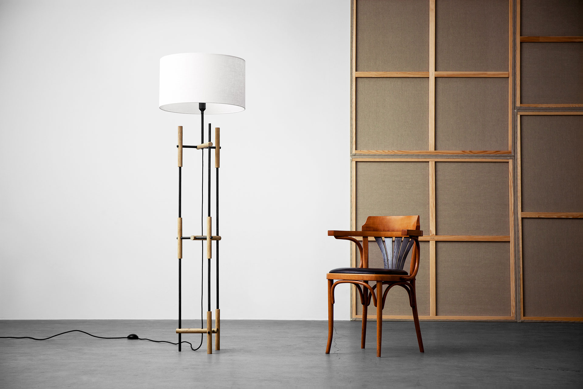 Modern design floor lamp with white shade