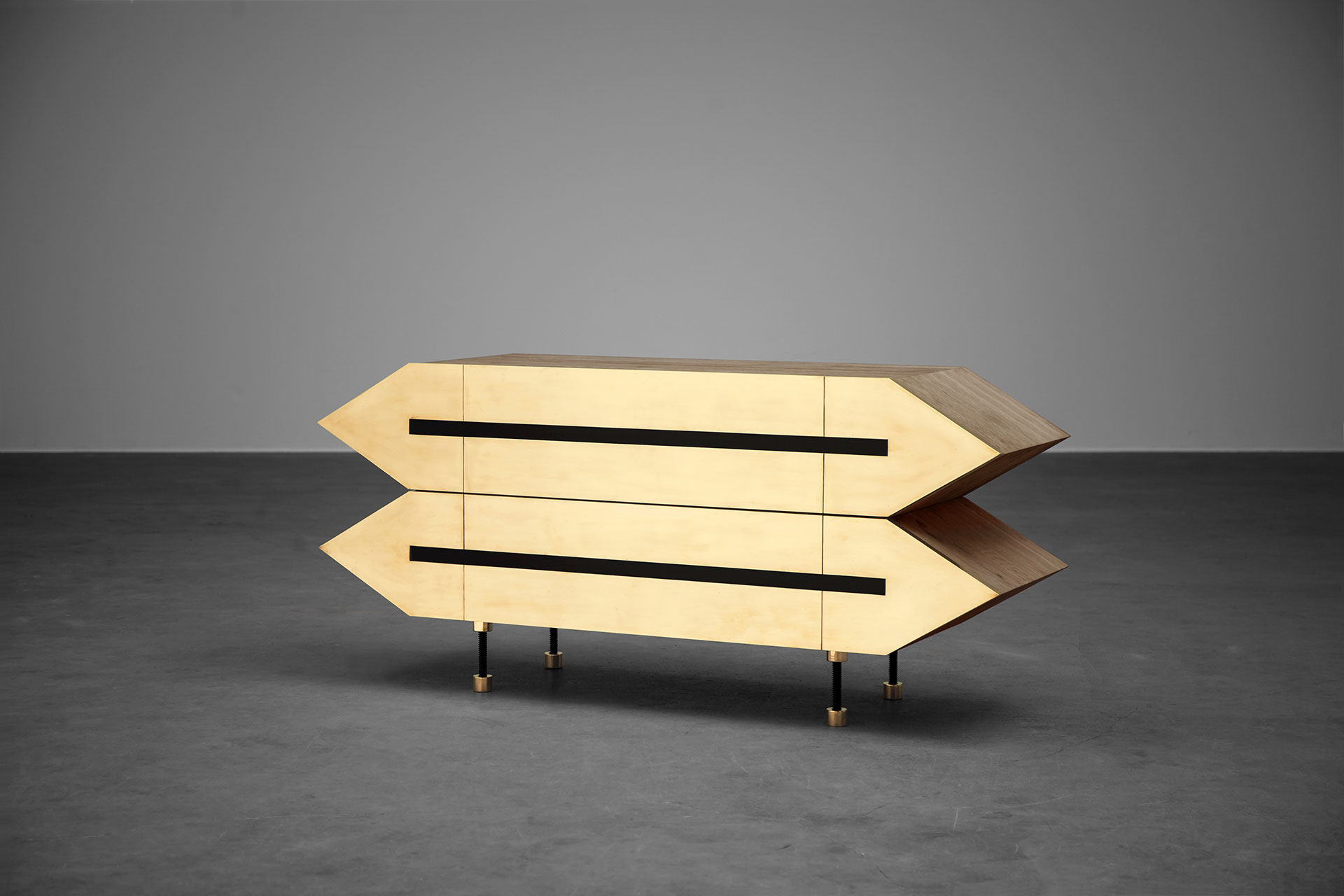 Wood and brass furniture inspired by brutalist design