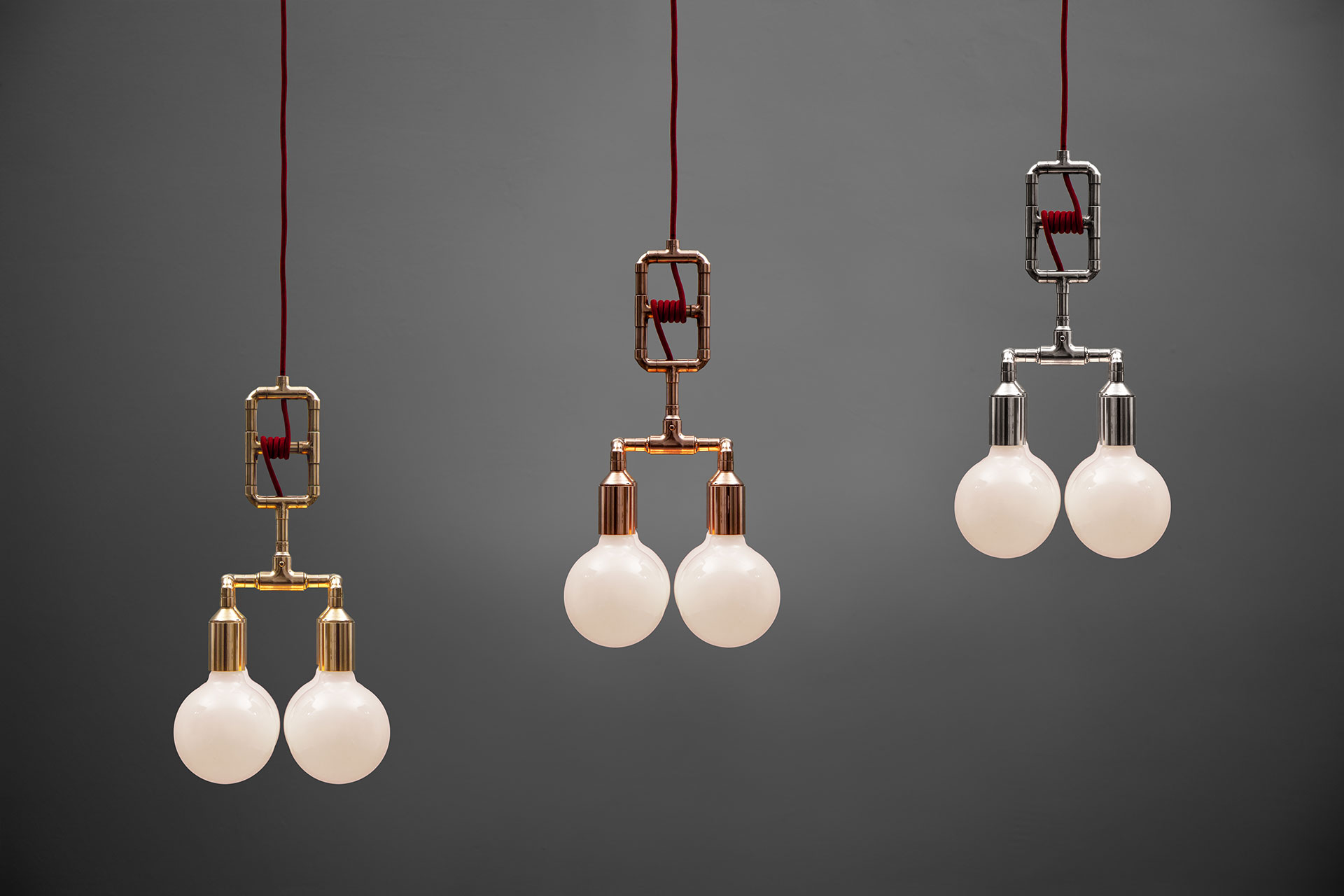 Adjustable height ceiling lamps in brass, copper and nickel metal finish inspired by modern loft design