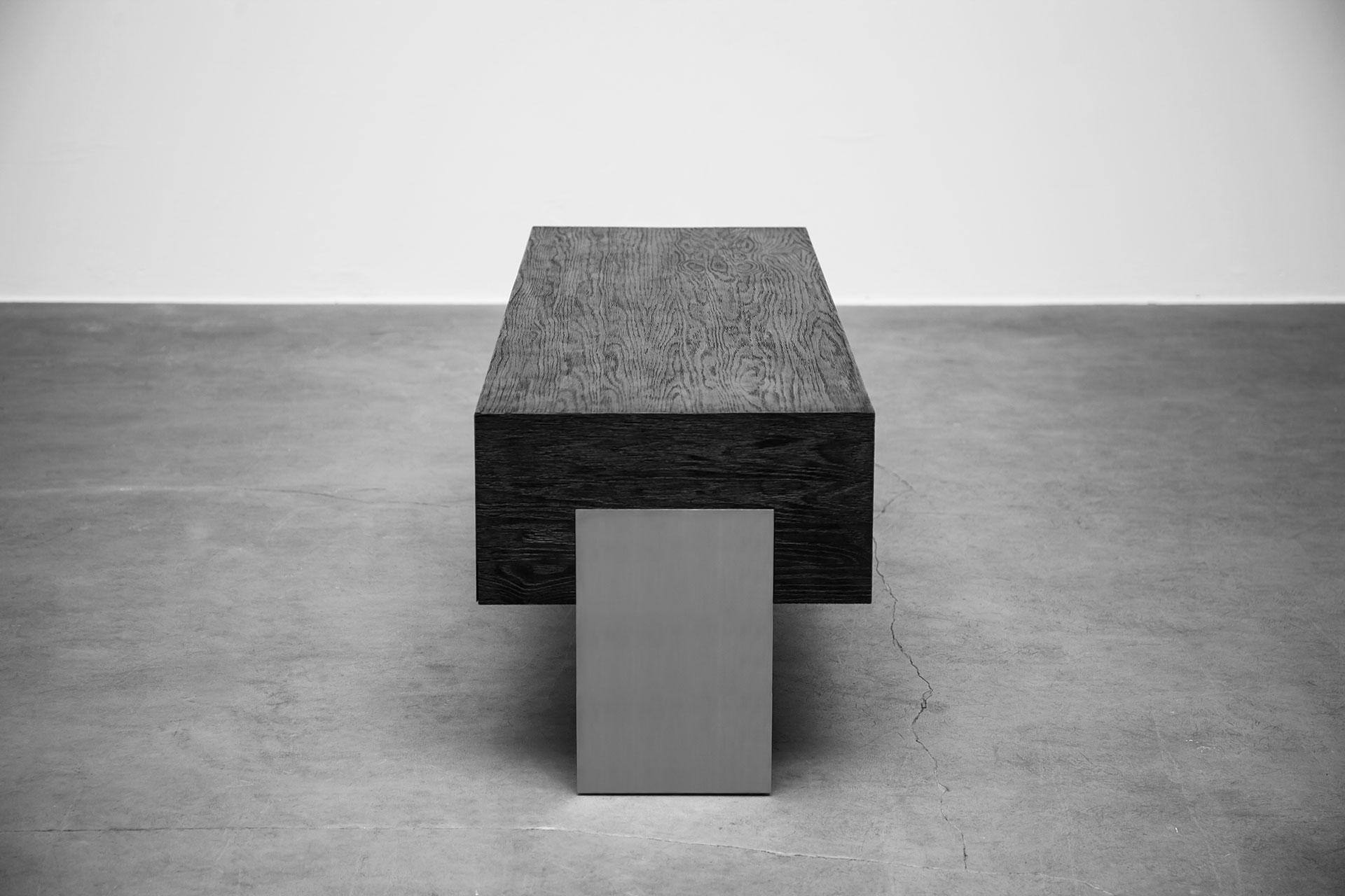 Minimalist design media cabinet in black wood
