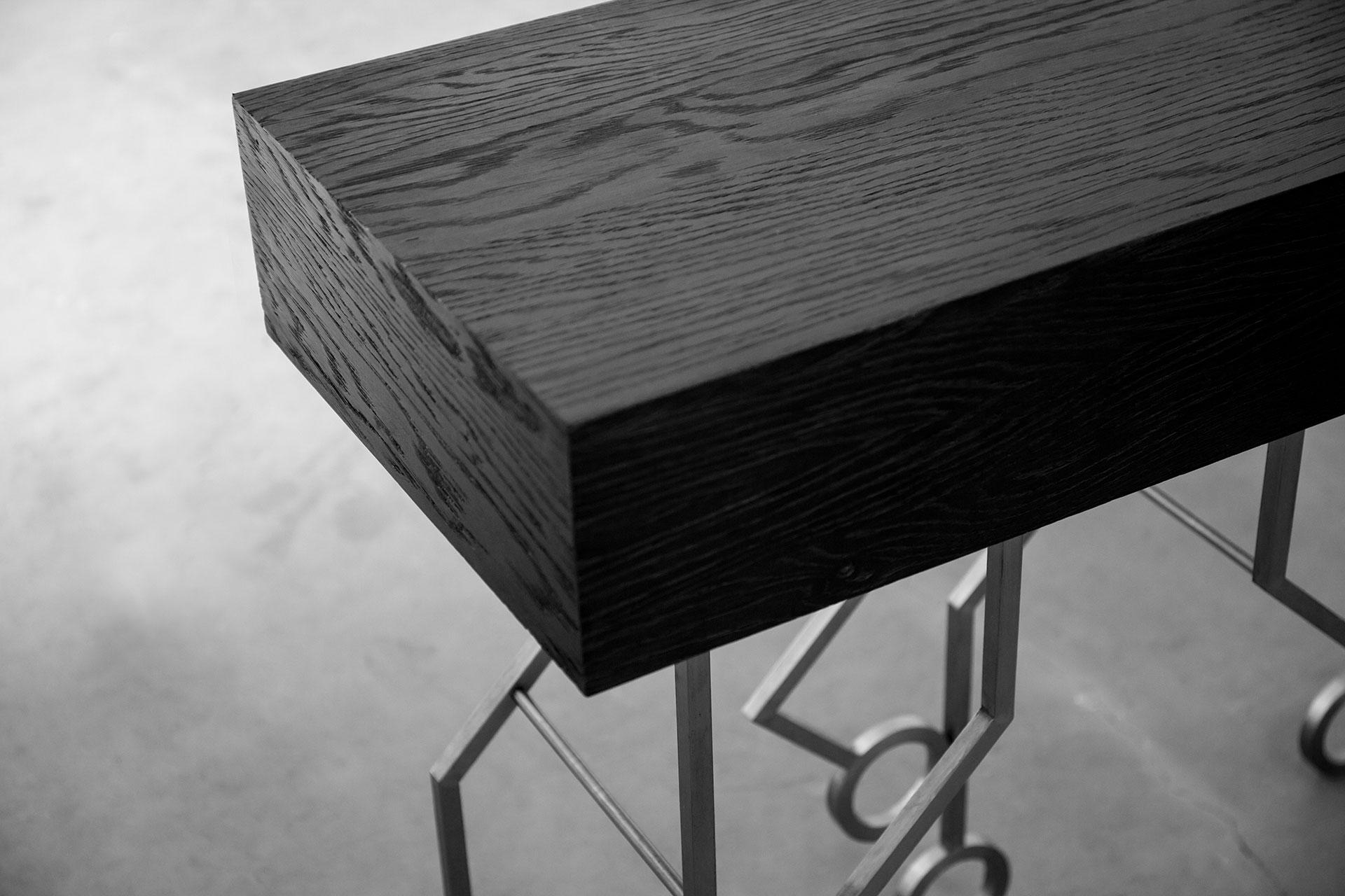 Modern black wood console