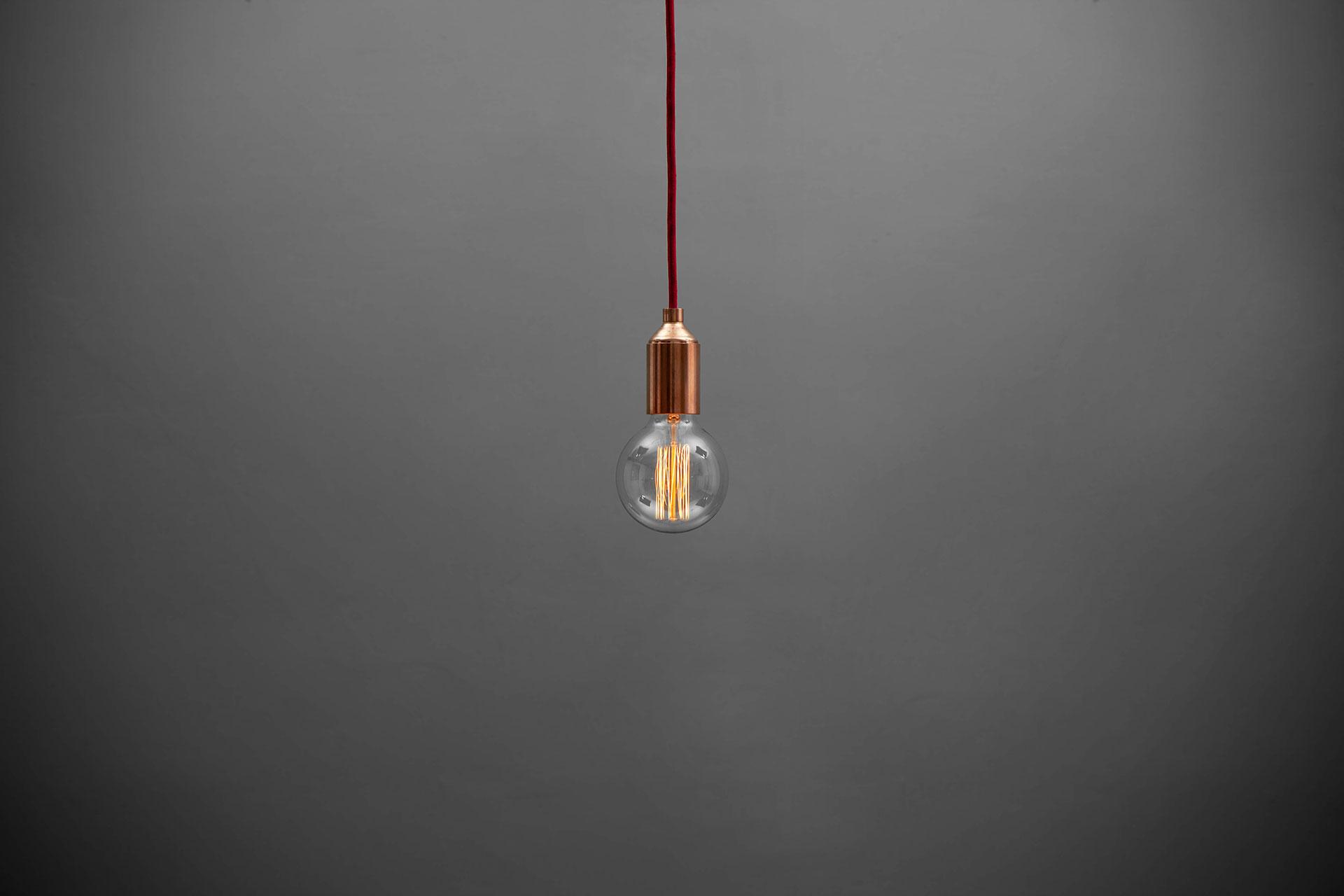 Industrial design copper pendant light with retro Edison bulb