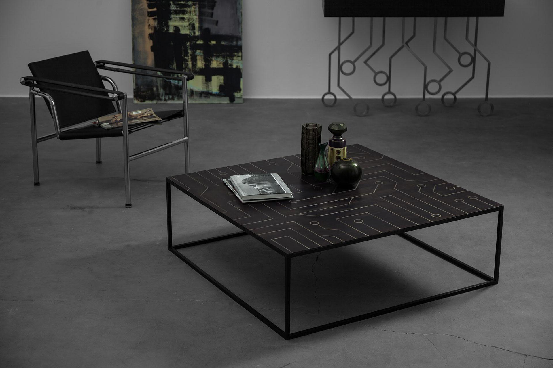 Brutalist design large coffee table in minimalist apartment