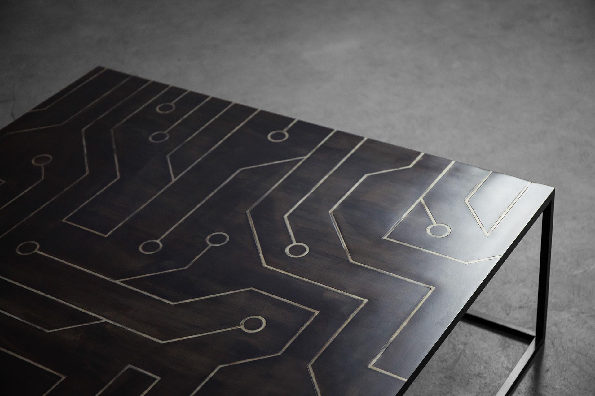 Conceptual design coffee table with intarsia top