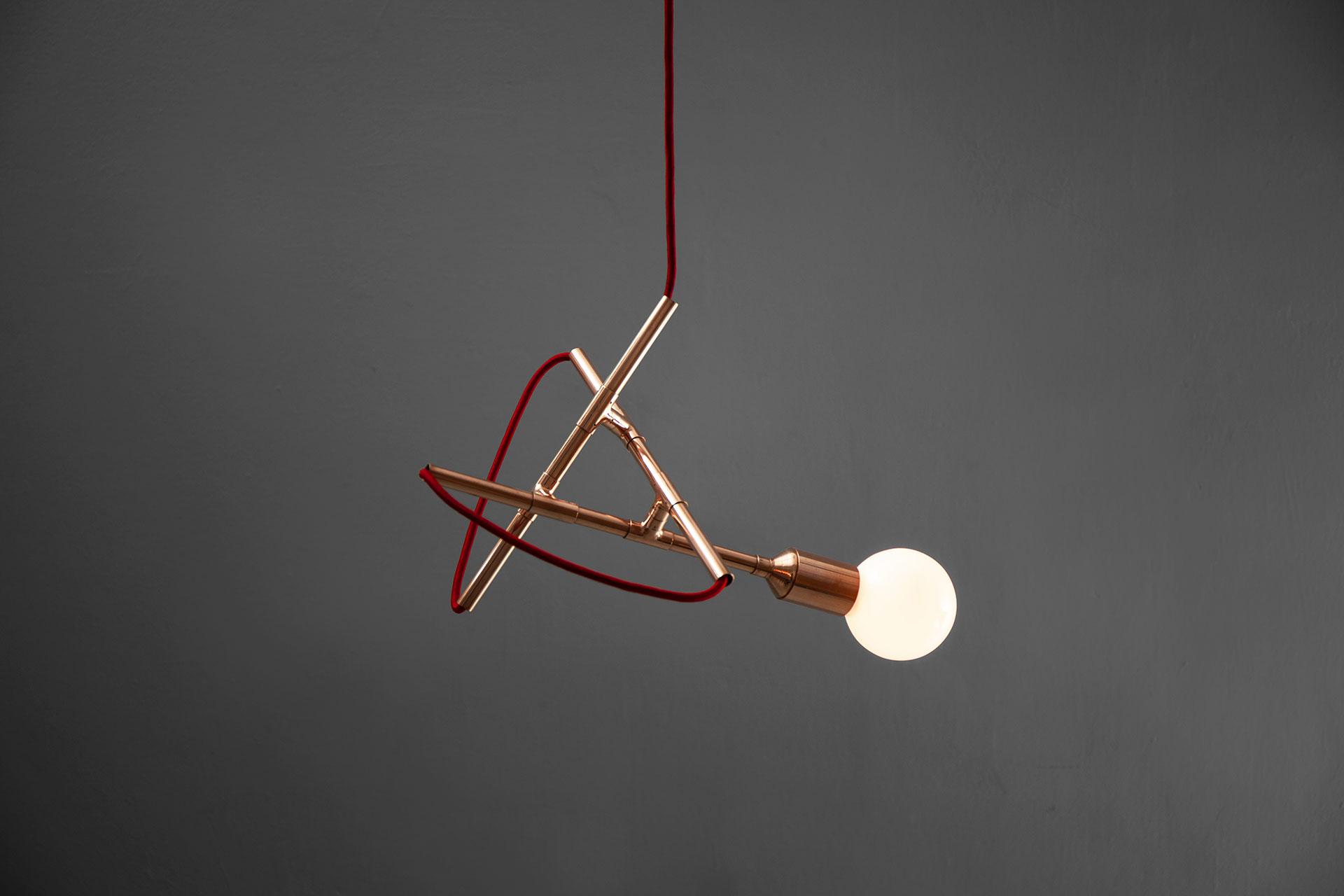Designer pendant light in trendy copper color