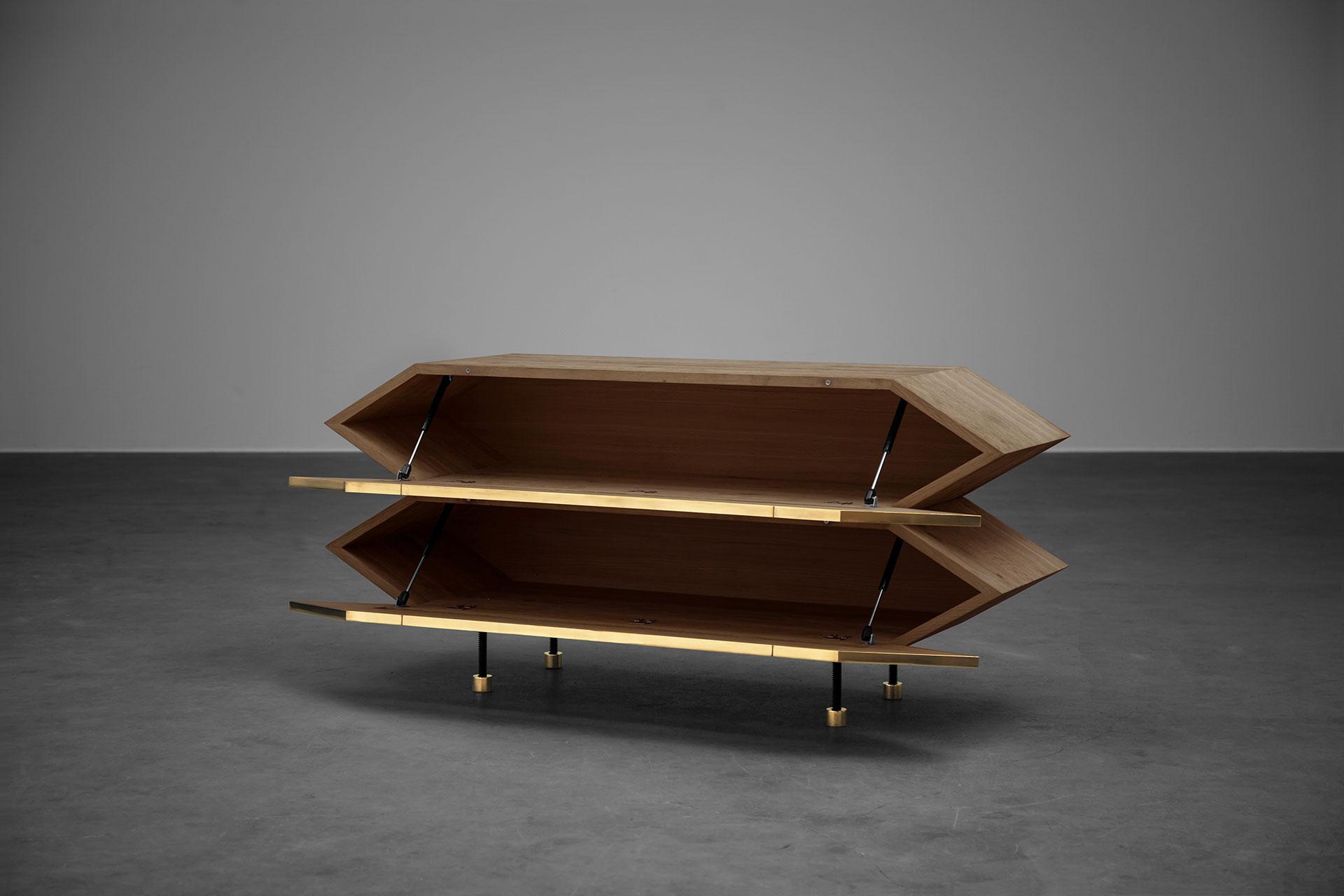 Geometric design sideboard with brass metal doors